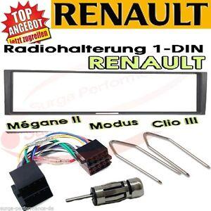 Radio Ein Bauset Renault Megane Scenic Modus Clio Noir Incl. Câble Adaptateur