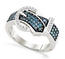 Belt Buckle Ring Blue & White Diamond 10K White Gold Band .50ct Stunning Design