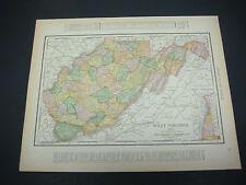 1914 Rand McNally Atlas Map Page West Virginia North Carolina Suitable To Frame