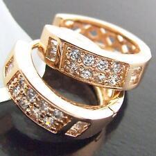 HUGGIE HOOP EARRINGS REAL 18K ROSE G/F GOLD GENUINE DIAMOND SIMULATED DESIGN