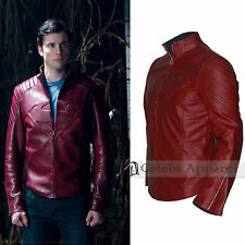 Superman Man Of Steel Smallville Maroon Shield Cosplay Leather Jacket Costume