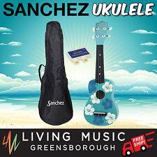 New Sanchez Hawaiian Light Blue Floral Soprano Uke Ukulele Pack for Beginner