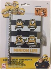 Despicable Me 3 Minions Secret Diary with Pencil Lock & Keys Notepad Gift New