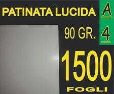 1500 FOGLI CARTA PATINATA LUCIDA STAMPANTI LASER VOLANTINI 90g A4
