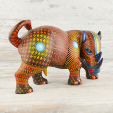 A1413 Rhino Alebrije Oaxacan Wood Carving Painting Handcrafted Folk Art
