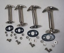 1932 Ford Car & Pickup Truck STAINLESS Hood Latch 4 Pieces w Pad + Screw Kit 32