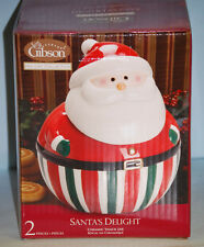 Santa's Delight Ceramic Cookie/Snack Jar By Gibson Holiday Collection