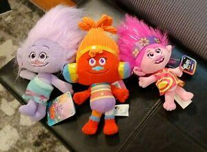 Trolls 8 Inch Dolls Small Plush Lot Set Of 3 NWT