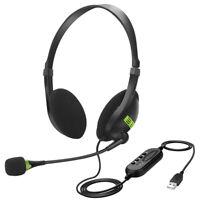 USB Headset Kopfhörer mit Mikrofon Telefon Stereo Computer PC Laptop Headphone