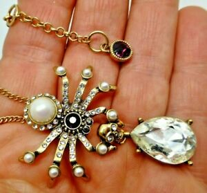 Vintage style Spider pendant chain necklace pearl crystal rhinestone gift box