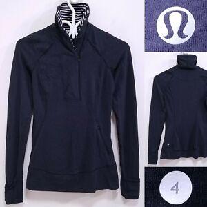 Lululemon Black 1/2 Zipper Sweater Size 4 XS Sweatshirt L/S Thumb Holes