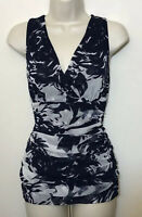 INC Small Tank Top Navy Blue & White Nylon Stretch Ruched Cowl Neck Sleeveless