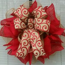 EVERYDAY ALL OCCASION JUTE MESH RED BURLAP BOW WREATH RIBBON *16 inch*