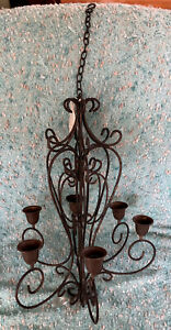 Dark Brown Rustic Metal new Hanging 6 arm Candle Chandelier with Chain