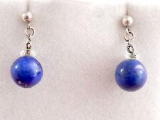 Vintage solid silver & lapis bead dangle/drop earrings- pierced ears