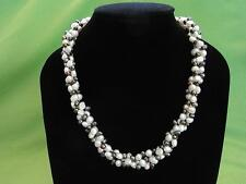 Genuine Freshwater Pearl Necklace 3 rows Wedding Party Handcrafted 45cm Free Box