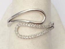 Pave Diamond Split Orbit Open Fashion Right Hand Ring White Gold Band Aniversary