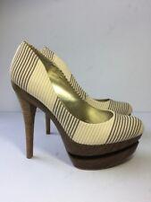Jessica Simpson Colie Heels 8.5 Wood Platform Seaside Stripe Sand Leather $99