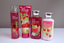 Bath & Body Works Sun Ripened Raspberry Body Cream, Lotion, Gel Mist 4 pc Set