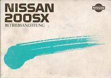 NISSAN 200 SX S13 Betriebsanleitung 1988 Bedienungsanleitung Handbuch Zenki BA