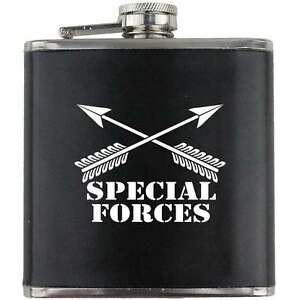 Special Forces Green Beret US Army Veteran Soldier Groomsman Gift Leather Flask