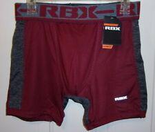 "Mens Rbx Performance Boxer Briefs~6"" Inseam~Polyester/Spandex~ Medium~Burgandy~"