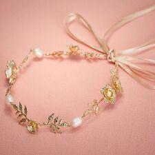 Wedding Bridal Gold Leaf Pearl Headband Hair Vine Hairpiece with Ribbon Belt