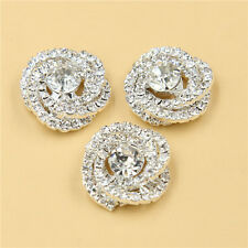 Rhinestone Buttons Clear Crystal Silver DIY Sewing Craft 4Pcs Wedding Buttons