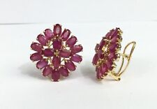 14k Solid Yellow Gold Diamond Shape Omega Back Earrings, Natural Ruby10.5TCW