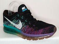 Nike Flyknit Air Max Black Purple Green Womens Running Shoes US 8.5 UK 6