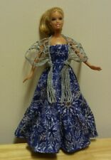 "11 1/2"" Doll Clothing Holiday Gown w/silver glitter snowflakes & silver shawl"