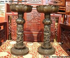 Chinese Royal Palace Copper Bronze Dragon Lotus Candlestick Candle Holder Pair