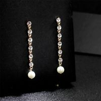 Earrings Nails Golden Linear Crystal Pearl White Fine Retro CC12