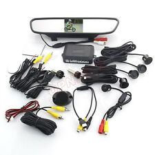 Car Reverse Backup LCD Mirror Monitor Radar Sensor Tail Safe Camera Kit For Ford