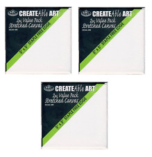 """6 MINI ARTIST BLANK STRETCHED SQUARE BOX CANVAS 5"""" x 5"""" 12.7cm PAINTING DCAA450"""