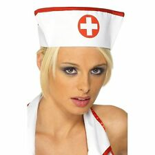 Red White Nurse Nurses Cap Hat Adults Ladies Womens Fancy Dress Accessory