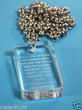 ORACION DE LA SERENIDAD SERENITY CRYSTAL DOG TAG NECKLACE STAINLESS SPANISH