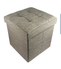 "Folding Cube Storage Ottoman with Padded Seat, 15"" x 15"" - (Brown)"