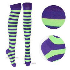Womens Over the Knee Striped Socks Valentines Gift UK 4-6.5 Halloween Costume