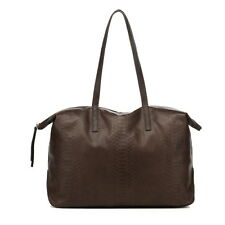 New Lusso Genuine Italian Embossed  Leather Handbag - Stylish Chocolate Tote!