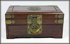 """""""Hand Crafted Oriental Jewelry Chest with Ornate Brass Fittings""""  (6"""" H x 12 W)"""