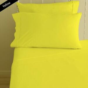 1000 Count 100% Cotton 4 Piece Bed Sheet Set Yellow Solid Colour All size