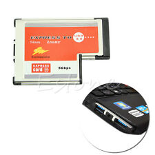 5Gbps 2 Port Hidden USB 3.0 HUB Express Card ExpressCard 54mm Adapter for Laptop
