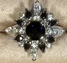 FRANKLIN MINT FABERGE 18K WHITE GOLD SAPPHIRE DIAMOND RING SIZE 7 Collectible