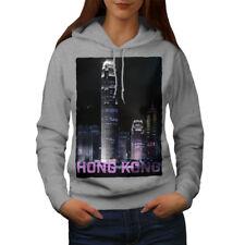 Wellcoda Hong Kong Night Fashion Womens Hoodie, China Casual Hooded Sweatshirt