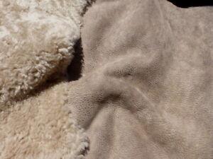 sheepskin shearling leather hide Mocha Curly Hair w/Brown Distressed Nubuck back