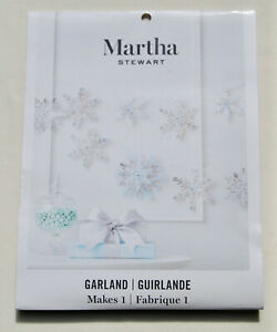 NWT Martha Stewart Silver Winter Holiday Sparkle Paper Snow Flake Garland Kit