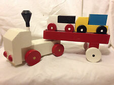Vtg 4pc Handmade Tractor Trailor Truck and Hauler Cars Child Kids Pretend Toy