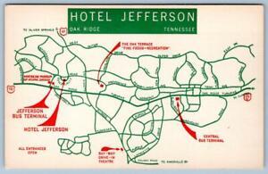 OAK RIDGE TN HOTEL JEFFERSON RED GREEN MAP SKY-WAY DRIVE IN THEATRE BUS TERMINAL