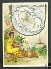 Map card île de La Réunion Reunion Woman Africa 1880s
